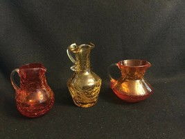 Vintage Crackle Glass Pitcher Lot of 3 Handblown Applied Handle - $14.01
