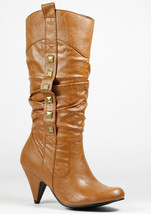 Cognac Brown Faux Leather Studded w Zipper Fashion Knee High Heel Boot Wild Diva - $14.99