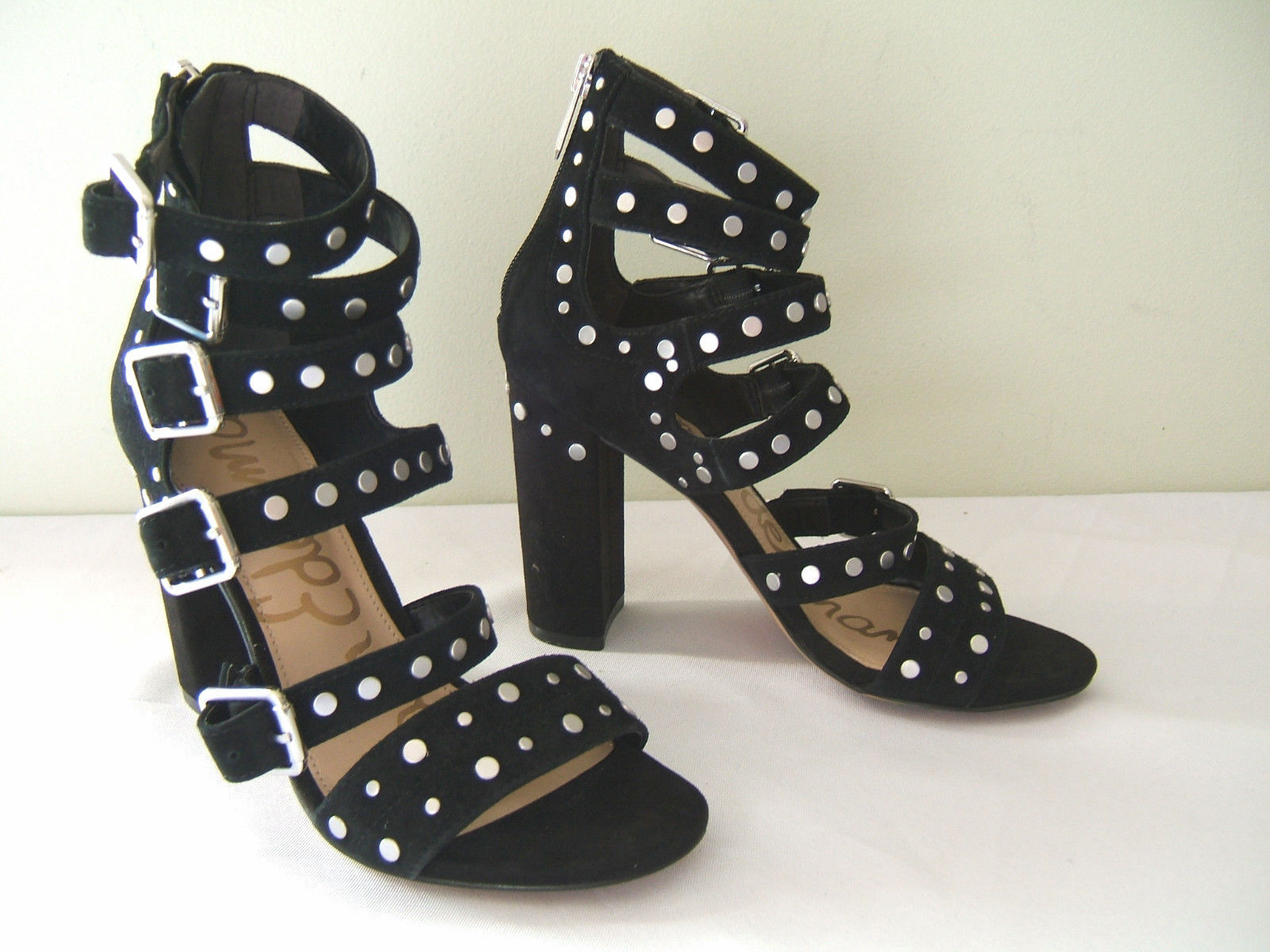 b9d4dc8548ef Sam Edelman Black Studded Suede Leather YORK Heels Sandals 6 M  175