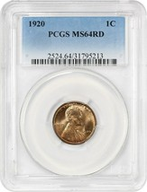 1920 1c PCGS MS64 RD - Lincoln Cent - $106.70