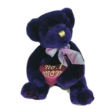 No 1 Mom Teddy Bear Plush Stuffed Animal Toy Dark Purple Heart Gold Trim 9 inch - $19.79