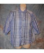 Womens Blue Plaid Mirage 3/4 Sleeve Shirt Size XL excellent - $6.92