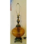 Mid Century Amber Optical Glass & Brass Large Table Lamp EF & EF Industries - $120.14