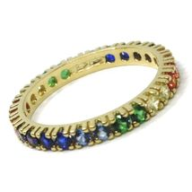 SOLID 18K YELLOW GOLD ETERNITY BAND RING, MULTI COLOR, RAINBOW CUBIC ZIRCONIA image 4