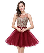 Cheap Burgundy Tulle Bridesmaid Dresses Short Backless Homecoming Dress ... - $60.33