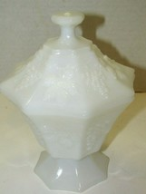 Vintage Milk Glass Unmarked Grape Vine Octagonal Pedestal Lidded Candy Dish - $25.74