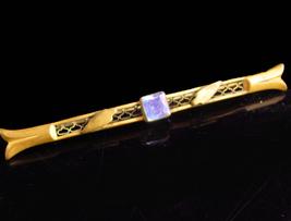 Art Nouveau brooch -  Antique blue jewel pin - ornate relief - victorian... - $55.00