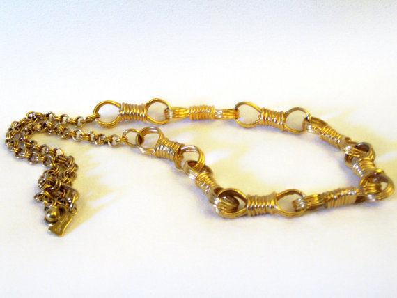 RAQUEL Fancy Infinity Link Gold Plated Necklace Designer Signed Vintage Estate