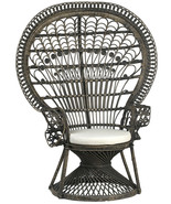 Vintage Style Black Rattan Wicker Peacock Throne Accent Garden Chair 45'... - $1,138.50