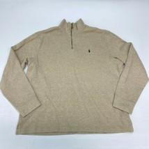 Polo Ralph Lauren Sweater Mens XL Tan Quarter Zip Mock Neck 100% Cotton ... - $24.95