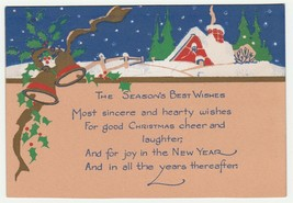 Vintage Christmas Card Red Cottage in Snow Gold Bells 1946 - $7.91