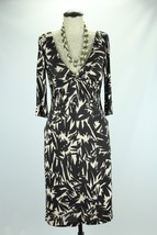 Diane Von Furstenberg A Line Dress Womens Size 6 Brown Cream Floral 100% Silk  - $65.44