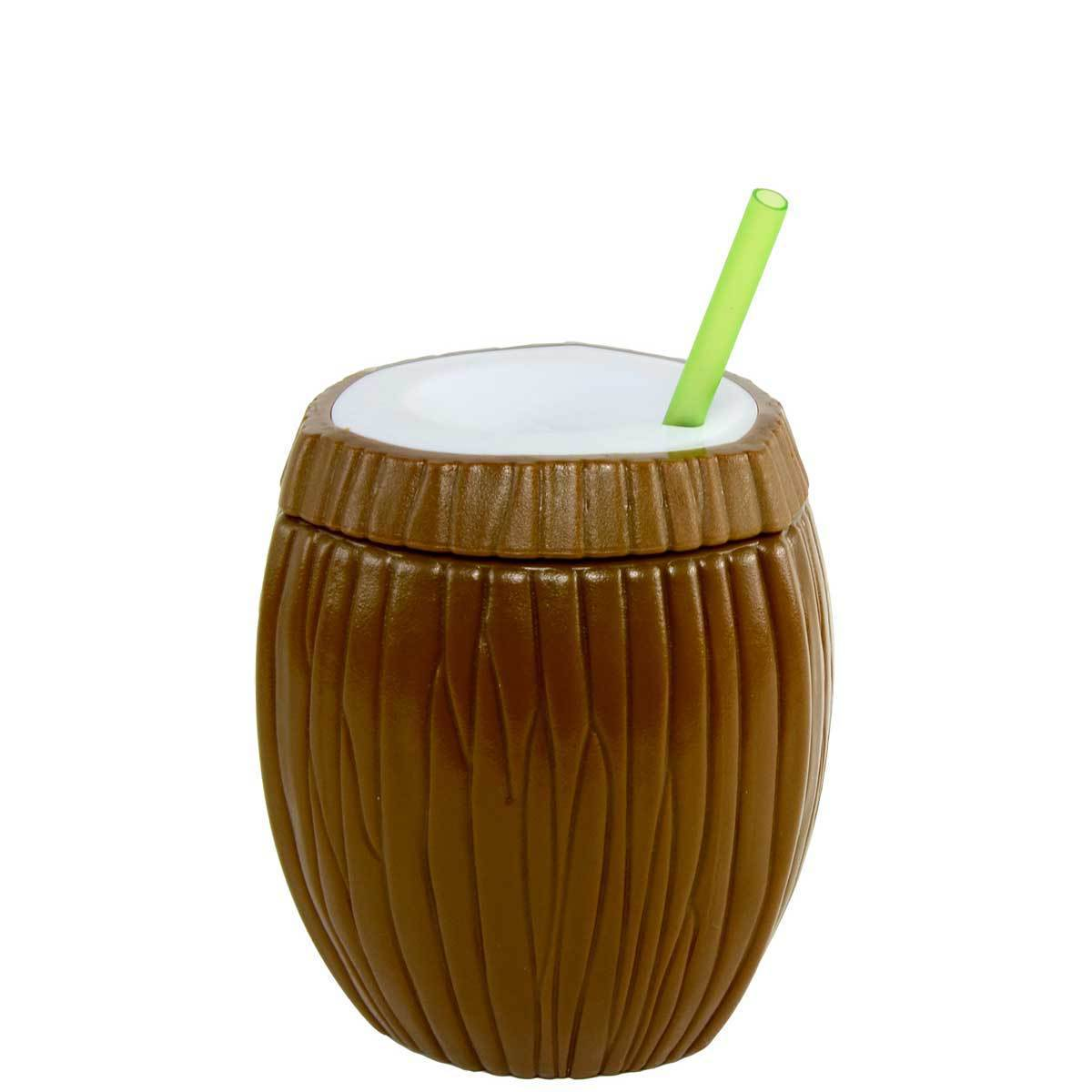 Cool Gear 16oz Coconut Double Wall Tumbler Cup BPA FREE  Tropical  Hawaiian Tiki