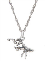 STERLING SILVER PRAYING MANTIS CHARM WITH THIN SINGAPORE NECKLACE - $15.88+