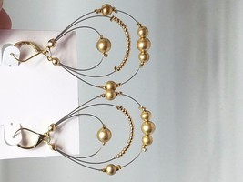3 tier gold tone pierced wire and round beads drop Vintage Earrings - $21.59