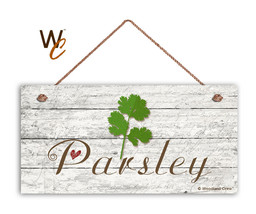 "Parsley Sign, Rustic Style Garden Sign,  5"" x 10"" Wood Herb Sign, Kitchen - $11.39"