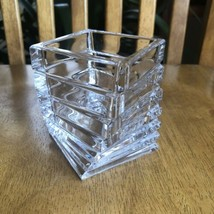 Rosenthal Studio Linie Signed Square Twisted Turnus Stacked Crystal Vase... - $24.75