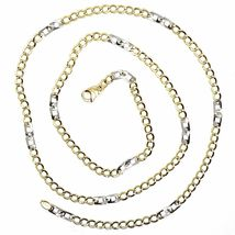 18K YELLOW WHITE GOLD CHAIN 3 MM, 19.7 INCHES, ALTERNATE GOURMETTE AND SQUARE image 3