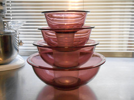 Visions cranberry mixing bowls by Pyrex - $45.00