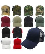 Trucker Mesh Back Baseball Caps Plain Camo Adjustable Blank Snapback Sol... - $2.96+