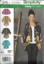 Easy Simplicity Pattern #1318-Misses Kimono Jackets-Sizes-XXS-XXL - $7.66