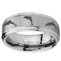 Multiple Dolphins Design 10mm Step Edges Tungsten Carbide Engraved Ring - $49.99