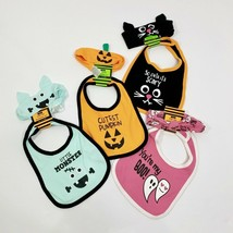 Baby Bib & Headband Set Halloween Choose Style Cat Pumpkin Monster Ghost... - $3.50