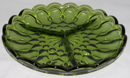 "Vintage Green Glass Relish Dish w/3 Division 8.5"" Round Anchor Hocking Style - $14.99"