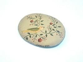Vintage Brooch Wood Bird Pin Folk Art 80s Oval  - $7.91