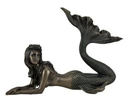 Veronese Mermaid Lying Down Statue Sculpture Nautical Figurine - $69.17