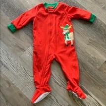Carters Winter Holiday Footed Fleece Pajamas 12m Red Reindeer Christmas Zipper - $7.70