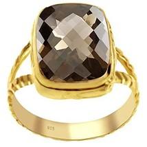 Genuine Smoky Quartz 14k Gold Overlay 925 Sterling Silver Ring for Women... - $29.99