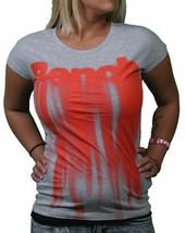 Bench UK Morph Tee Heather Grey Melting Orange Logo Graphic Short Sleeve Shirt