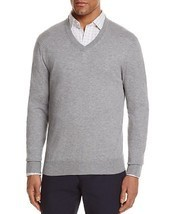 NEW BLOOMINGDALES MEDIUM HEATHER GRAY COTTON CASHMERE BLEND V-NECK SWEATER - $26.72