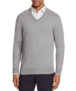 NEW BLOOMINGDALES MEDIUM HEATHER GRAY COTTON CASHMERE BLEND V-NECK SWEATER - £20.80 GBP