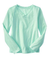 GAP Kids Girls T-shirt Tee Sz S 6 7 Long Sleeve Cute Slub V-neck Mint Gr... - $13.85