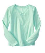 GAP Kids Girls T-shirt Tee Sz S 6 7 Long Sleeve Cute Slub V-neck Mint Gr... - $13.85