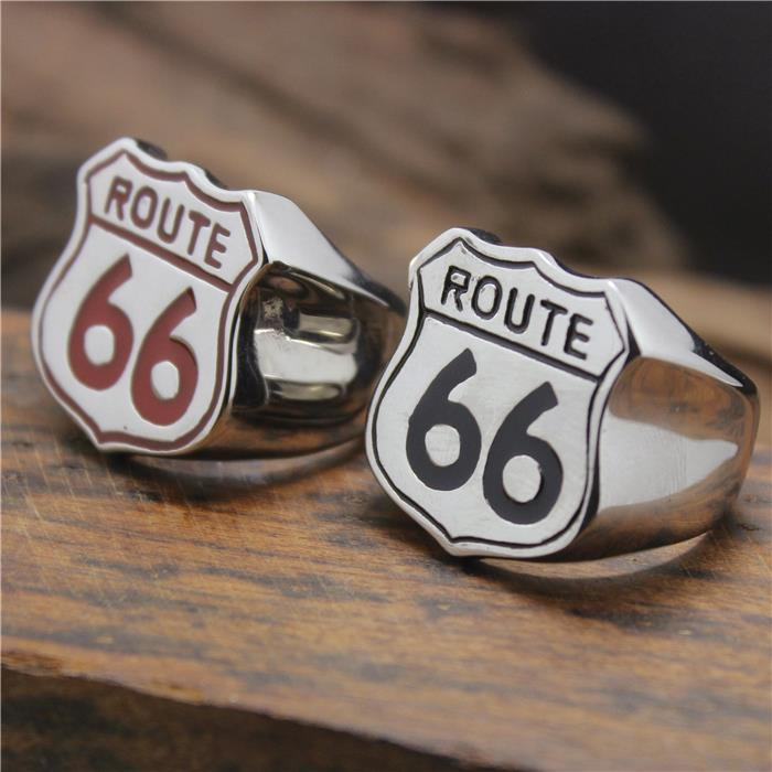 2015 cool 316l stainless steel cool black red route 66 american style biekr ring