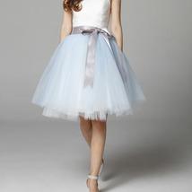Navy White Midi Tulle Skirt 6-layered Party Tulle Skirt image 14