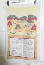 Vtg 1982 Calendar Kitchen Tea Towel Linen  CHURCH Horse & Buggies Villag... - $5.68