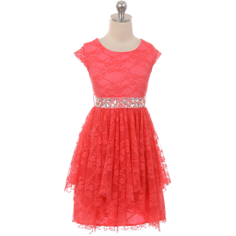 Burgundy Short Sleeve Floral Lace Asymmetric Ruffles Rhinestones Belt Girl Dress