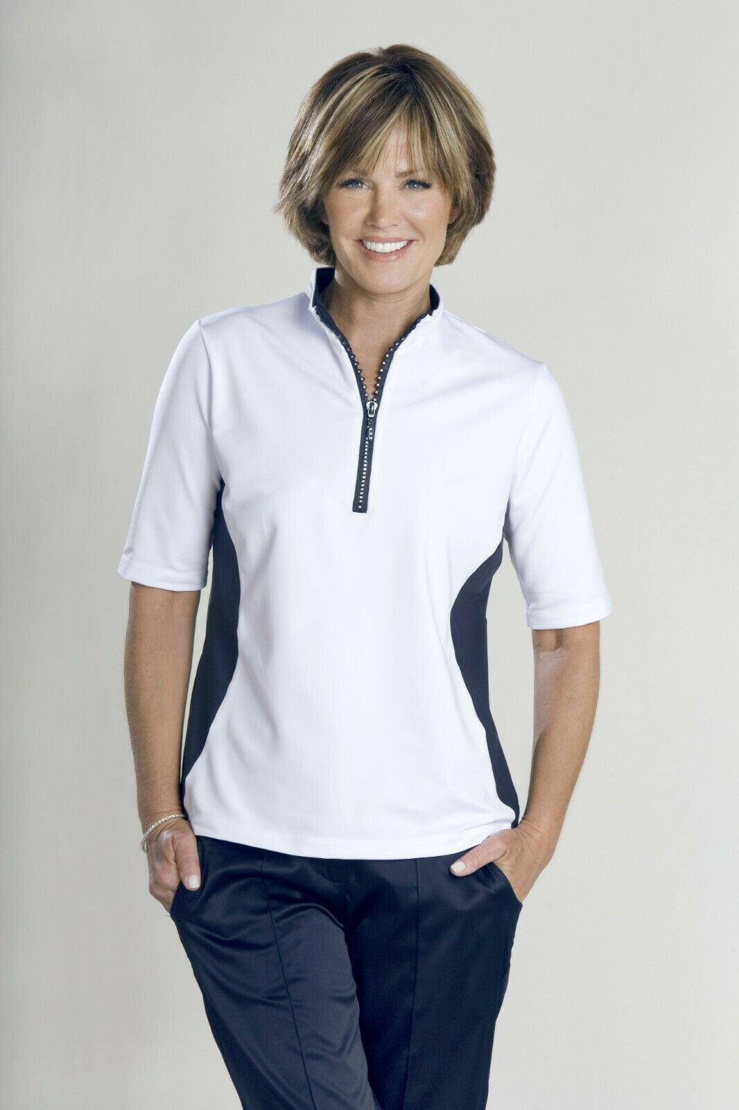 Stylish Women's Golf & Casual White Short Sleeve Collar Top, Swarovski Buttons image 5