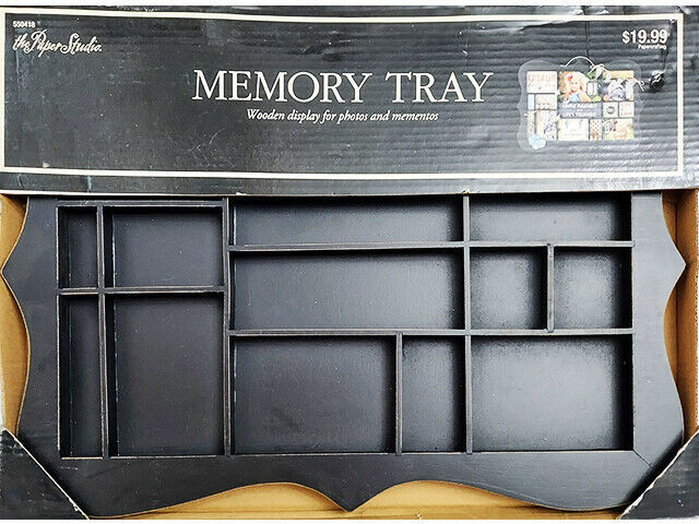 The Paper Studio Curved Wooden Memory Tray, Black, Perfect for Mixed Media
