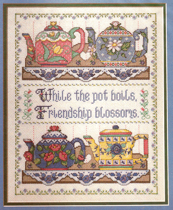 COLLECTABLE TEAPOTS COUNTED CROSS STITCH KIT  FRIENDSHIP OOP BUCILLA  #40887  - $26.98