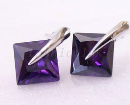 White Gold Plated Men Girl Unisex Stud Earrings 6 7 8mm Purple Pink Clea... - $9.93+