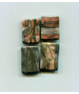 brown stone rectangle beads gemstone beads large stone beads brown and g... - $2.30