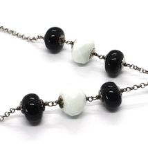 SILVER 925 NECKLACE, ONYX BLACK, AGATE WHITE, FLOWER MILLED PENDANT image 4