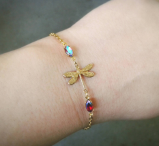 Tiny Gold Dragonfly Bracelet Rare Antique Gems Bracelet Gold Dragonfly B... - $46.00