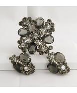 RARE VINTAGE D&E JULIANA BLACK DIAMOND OVAL Rhinestone FLOWER SPRAY BROO... - $93.75