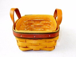 Longaberger Tea Basket, 2 Leather Handles, w/Insert, 5x5 ~ Signed 1999 ~... - $24.45